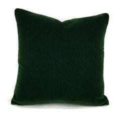 """Pierre Frey Bold Mohair Velvet Pillow Cover, Forest, 20""""x20"""""""