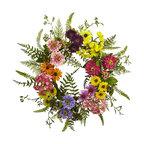 22 in. Mixed Flower Wreath in Multi