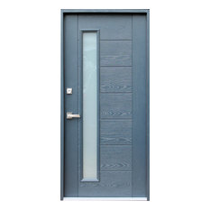 Ville Doors Fibergl Gray Stained Gl Entry Door Right Hand Front