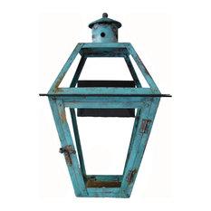 "French Quarter Copper New Orleans Style Lantern, Verdigris, 21"", Natural Gas"