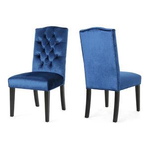 GDF Studio Joyce Crown Top New Velvet Dining Chairs, Navy Blue, Set of 2