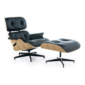 Mid-Century Lounge Chair With Ottoman, Black Leather, White Oak Veneer