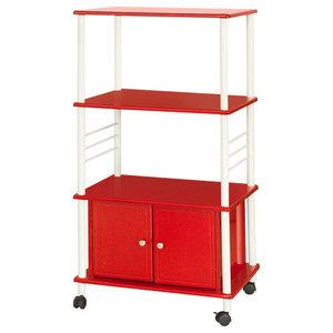 Modern Storage Serving Trolley, MDF, White Steel Frame, Bottom Cabinet, Red
