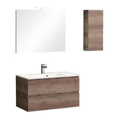 Valentina Modular Wall-Mounted Vanity Unit Set With Opaque White Sink, 90 cm