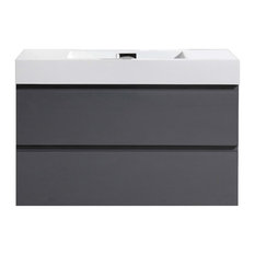 """MOF Wall Mounted Vanity With Reinforced Acrylic Sink, High Gloss Gray, 36"""""""