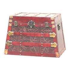"""Quickway Imports - Antique Wooden Pyramid Trunk, 17.9"""" - Decorative Trunks"""