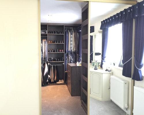 & Grey-Beige Zebrano Walk-in wardrobe with Gold sliding doors
