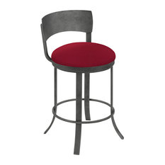 """Stella 26"""" Counter Height Swivel Barstool, Faux Leather, Silver Bisque"""