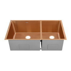 """Rivage 33""""x20"""" Stainless Steel, Dual Basin, Undermount Kitchen Sink, Rose Gold"""