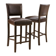 Castana Brown Leather Backed Bar Stools, Set of 2
