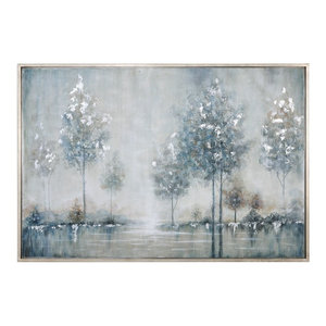 Silver Blue Trees Water Wall Art, Lake Painting