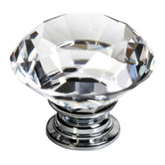 Clear Crystal Glass Knob 40mm, Set of 12