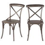 World Interiors - Anderson Reclaimed Iron Dining Chairs, Set of 2 - Add a touch of rustic style with the Anderson collection. Every piece in this collection is crafted from plantation-grown mango wood or reclaimed oak wood and recycled materials such as cast iron. This beautiful dining chair in gun metal finish highlights reclaimed materials and vintage design. The reclaimed metal features a hammered X-back design and metal strap detailing with rivets, and the reinforced legs provide additional stability. The industrial design of the chair pairs perfectly with a favorite bistro table for a casual gathering spot, or pull it up around a favorite kitchen table for a cute family and comfortable dining arrangement. Hand-crafted metalwork brings each piece to life, creating visually stunning furniture that will make a lasting impact.