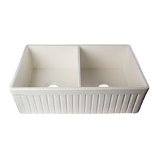 """Biscuit 32"""" Fluted Double Bowl Fireclay Farmhouse Kitchen Sink, Biscuit"""