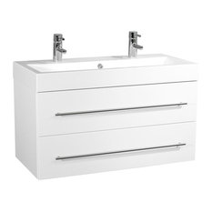 Emotion Sunrise Wall-Mounted Bathroom Vanity Unit, 100 cm, White High-Gloss