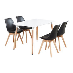 Lorenzo Dining Table Set With 4 Chairs, Black and White
