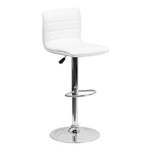 Flash Furniture Contemporary White Vinyl Adjustable H Bar Stool