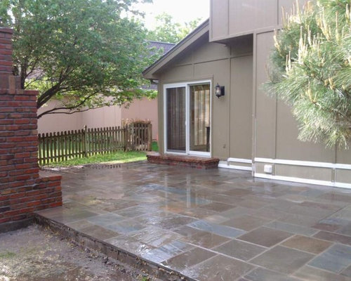 Bluestone Patio With Brick Outdoor Fireplace