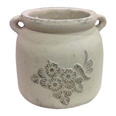Heavy Hand Pressed Ancient Stressed Terracotta Flower Pot, Vintage White