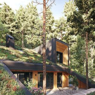 Пример оригинального дизайна интерьера: терраса среднего размера в современном стиле без защиты от солнца