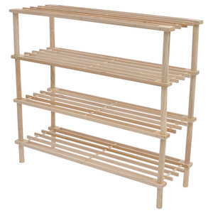 VidaXL Wooden Shoe Racks 4-Tier Shelf Storage, Set of 2