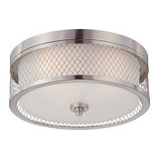 Fusion 3 Light - Flush Dome Fixture With Frosted Glass
