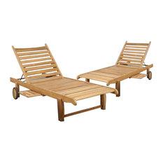 International Home Cairo Teak Chaise Lounges, Light Brown, Set of 2
