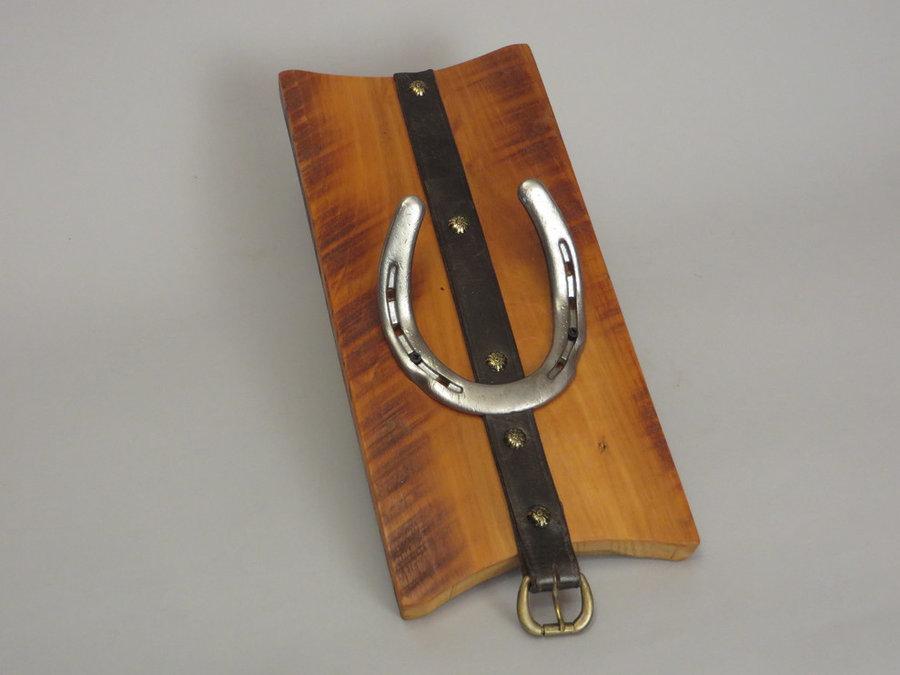 #R15045 Coat Rack Reclaimed Poplar, horseshoes, leather.