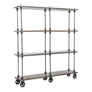 Backers Industrial Loft Weathered Oak 4 Shelf Rolling Bookcase