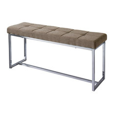 Corliving Huntington Fabric Upholstered Bench in Brown