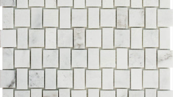 Square Weave Sienna White Marble Polished Mosaic