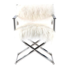 Pasargad Home Mongolian Fur Director's Chair, White/Silver