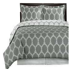 Brooksfield 100% Cotton 4PC Duvet Cover Set, Gray and White, King/Cal King