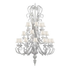 White Iron Chandelier With White Shades