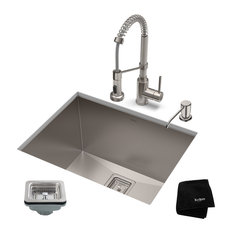 "24"" Undermount Stainless Steel Kitchen Sink, Pull-Down Faucet SS with Dispenser"