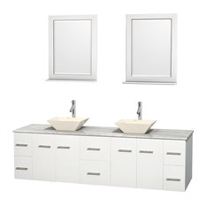 "Centra 80"" Matte White Double Vanity, Carrera Marble Top, 24"", Bone Porcelain"