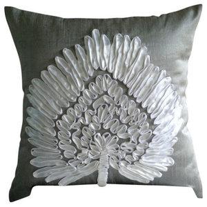 Ribbon Tree Gray Art Silk 50x50 Decorative Cushion Covers, Snow Tree