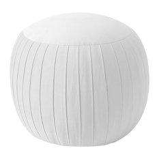 Thomas Round Ottoman, Velvet White