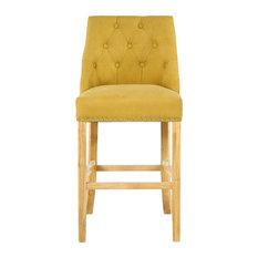 Camden Linen-Effect Buttoned Bar Chair, Yellow
