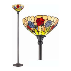 Amora Lighting Tiffany Style Tulips Torchiere Lamp 70 Inches Tall