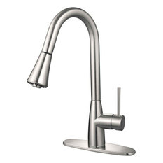 HARDWARE HOUSE   PLUMBING   16 3002 Satin Nickel Gooseneck Kitchen Faucet   Kitchen  Faucets