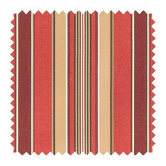 Deluxe Roman Shades Plain Fold, 28Wx36H Harrison Stripe Vintage Red