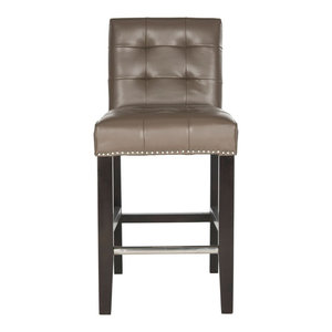 "Safavieh Thompson 23.9"" Leather Counter Stool With Silver Nailheads"