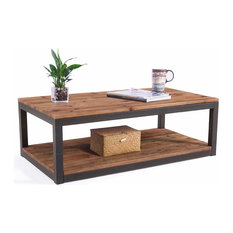 Industrial Stylish Coffee Table Solid Reclaimed Wood With Steel Metal Frame