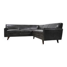 Milo Full Leather Mid-Century Corner Sofa Sectional, Charcoal