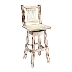 Montana Log Wood Barstool With Back And Swivel In Clear Lacquer MWBSWSNRV24