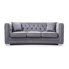Sofa,Gray Velvet
