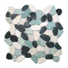 "12""x12"" Sliced Bali Turtle Pebble Tile"