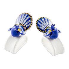 Handmade Blue-Plumed Peacock  Ceramic napkin holders (pair) - Guatemala