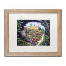 """Glover 'English Garden Stroll' Art, Birch Frame, 16""""x20"""", White Matte"""